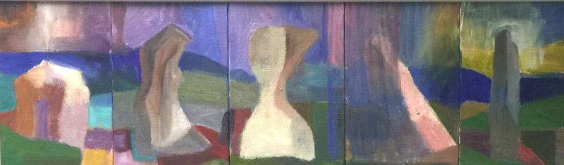Mosaic 1 - Oil on canvas 20x60cm