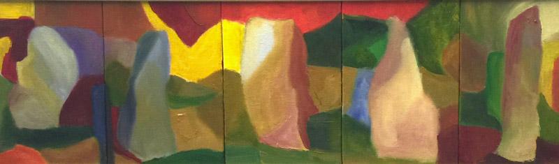 Mosaic 2 - Oil on canvas 20x60cm