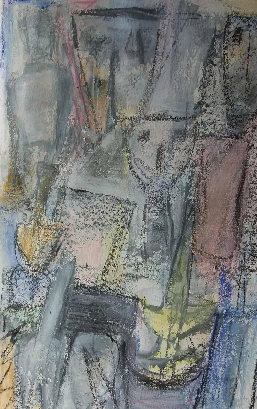 Cycladic heads - small mixed media, drawing